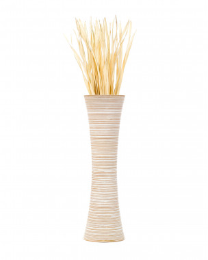 Leewadee Large Floor Vase – Handmade Flower Holder Made of Wood, Sophisticated Vessel for Decorative Branches and Dried Flowers, 44 inches, white wash
