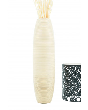Leewadee Large Floor Vase – Handmade Flower Holder Made of Wood, Sophisticated Vessel for Decorative Branches and Dried Flowers, 44 inches, cream