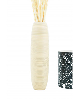 Leewadee Tall Big Floor Standing Vase For Home Decor 36 inches, Mango Wood, cream