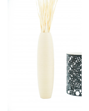 Leewadee Tall Big Floor Standing Vase For Home Decor 30 inches, Mango Wood, cream