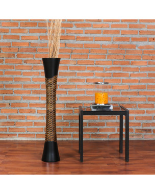 Leewadee Large Floor Vase – Handmade Flower Holder Made of Wood, Sophisticated Vessel for Decorative Branches and Dried Flowers, 36 inches, black brown